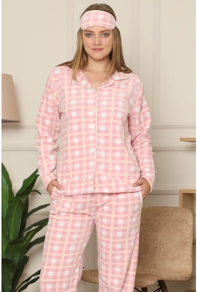 Akbeniz Welsoft Polar Önden Düğmeli Kadın Pijama Takımı 8083