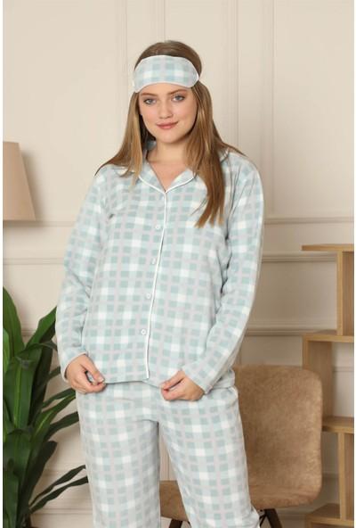 Akbeniz Welsoft Polar Önden Düğmeli Kadın Pijama Takımı 8084