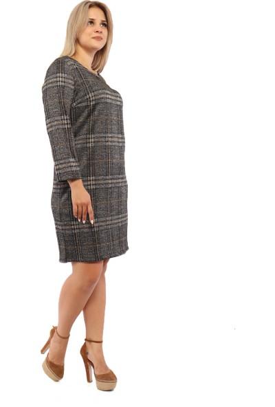 Endorfin Büyük Beden Parlak Ekose Elbise