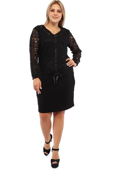 Endorfin Büyük Beden Taş Detaylı Dantelli Elbise