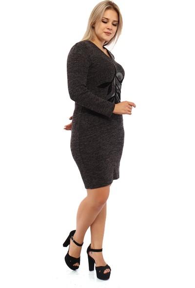 Endorfin Büyük Beden Yaprak Baskı Triko Elbise