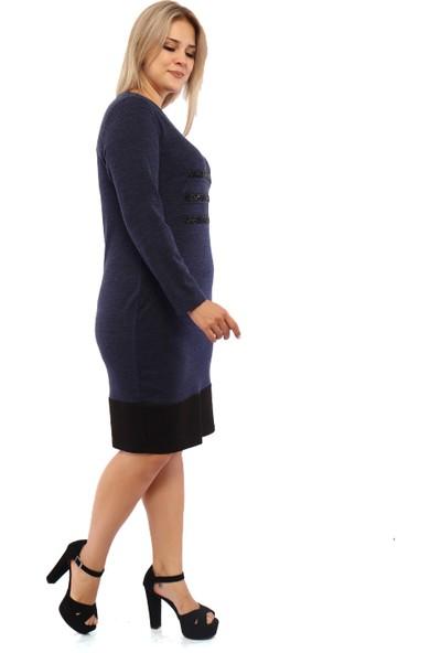 Endorfin Büyük Beden Taş Detaylı V Yaka Elbise