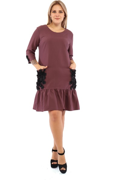 Endorfin Büyük Beden Çiçek Detaylı Elbise