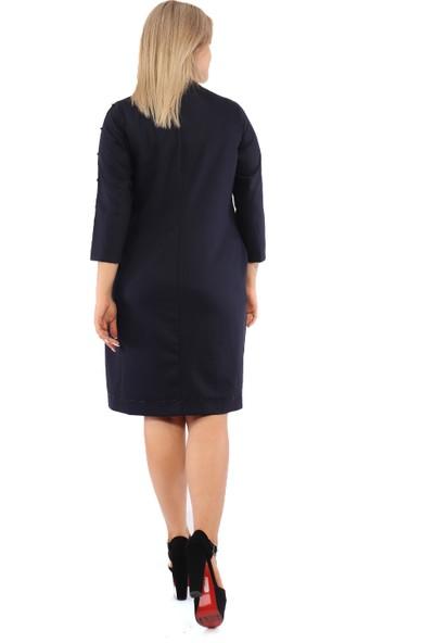 Endorfin Büyük Beden Degaje Yaka Taşlı Elbise