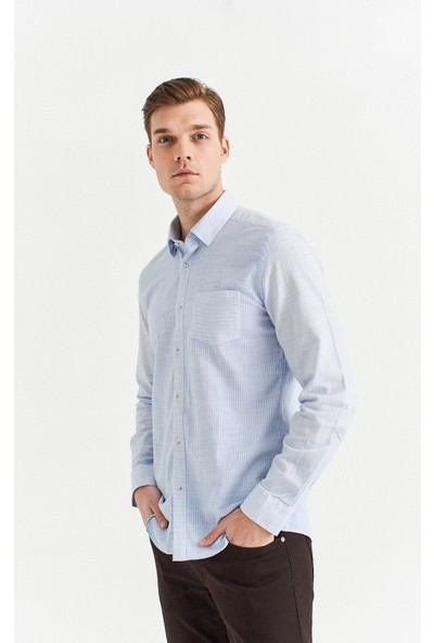 Avva Erkek Açık Mavi Çizgili Alttan Britli Yaka Slim Fit Cepli Gömlek A01S2240
