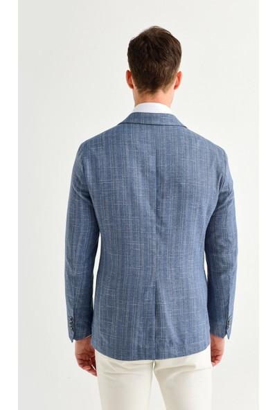 Avva Erkek Açık Mavi Kurtağzı Yaka Düz Slim Fit Torba Cepli Ceket A01Y4004