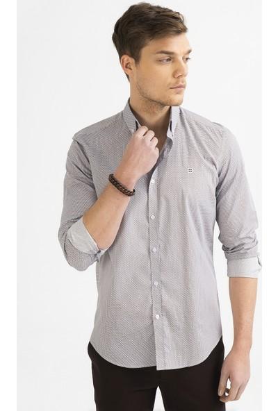 Avva Erkek Kahve Baskılı Düğmeli Yaka Slim Fit Gömlek A92Y2197