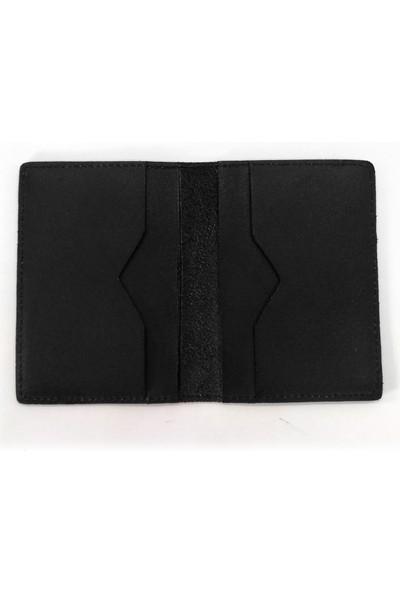 Cascades Leather Mat Siyah Doğal Deri Erkek Cüzdan Kartlık