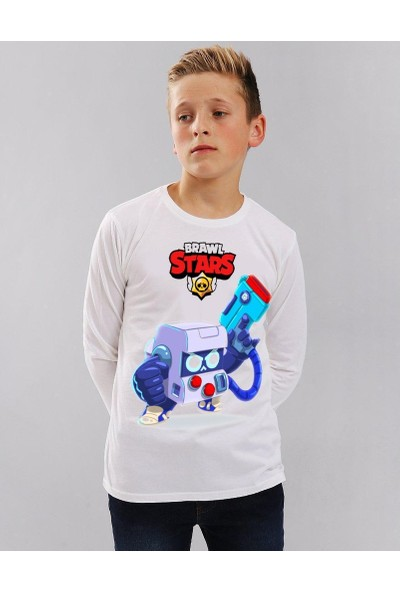 TakeTshirt Brawl Stars 8 Bit Çocuk T-Shirt Uzun Kollu Beyaz