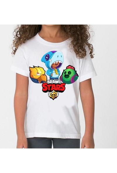 TakeTshirt Brawl Stars Karakterler Çocuk T-Shirt Beyaz