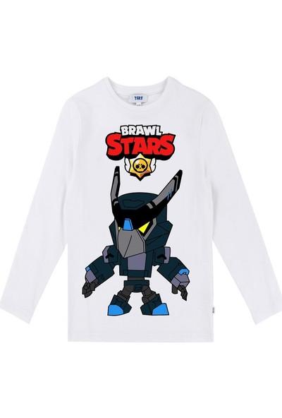 TakeTshirt Brawl Stars Karanlık Mecha Crow Uzun Kollu Çocuk T-Shirt Beyaz