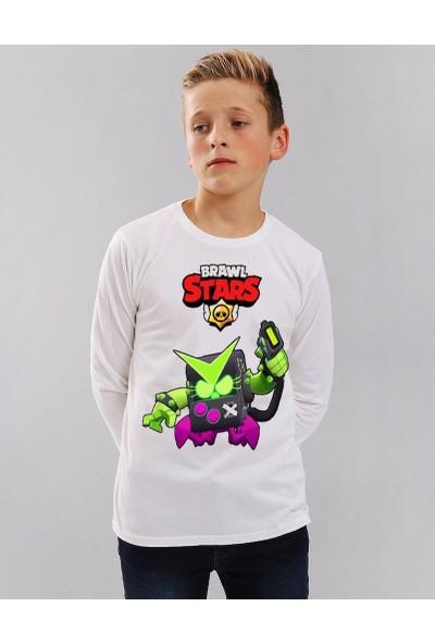 TakeTshirt Brawl Stars Virüs 8 Bit Çocuk T-Shirt Uzun Kollu