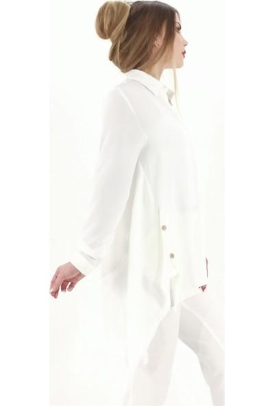 Butikburuc Arkası Uzun Önü Kısa Yan Düğme Model Tunik -Beyaz