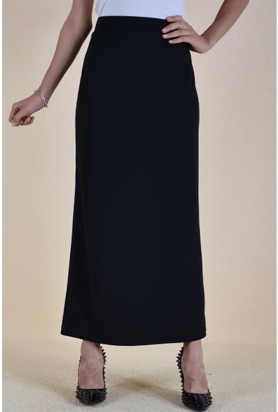Butikburuc Belden Sıkma Düz Uzun Kadın Etek - Siyah