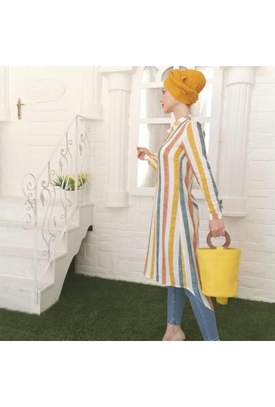 Butikburuc Önden Yarım Düğmeli Tunik - Renkli