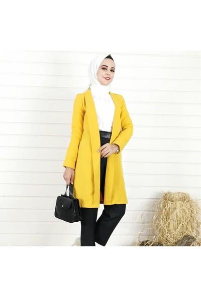 Lustri̇n Sade Uzun Kadın Ceket - Hardal