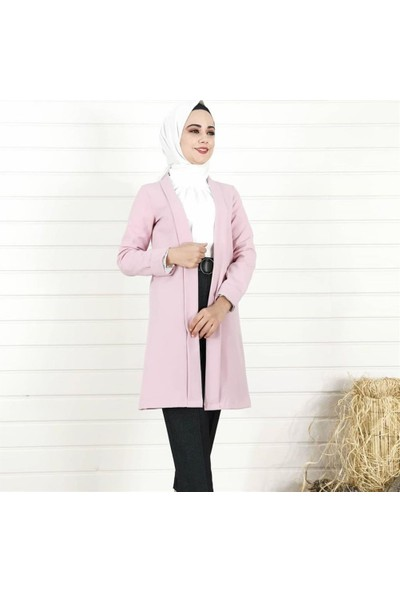 Lustri̇n Sade Uzun Kadın Ceket - Gül