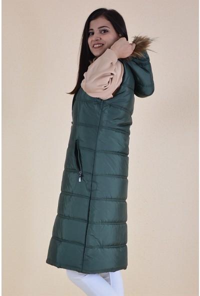 Butikburuc Şişme Uzun Kadın Yelek - Yeşil