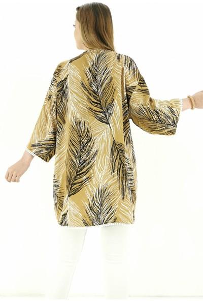 Lustri̇n Tüy Desen Ince Kadın Ceket - Camel