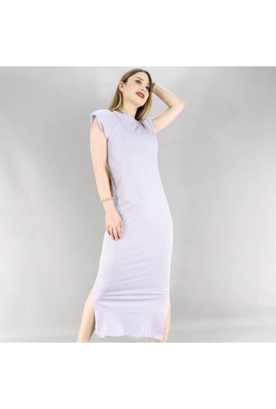 Butikburuc Yırtmaç Detay Uzun Elbise - Lila