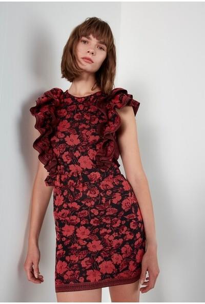 Join Us Desenli Fırfır Kol Kemerli Triko Elbise