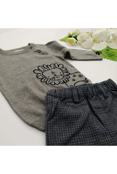 For My Baby Erkek Bebek Aslan Nakışlı Triko İkili Takım