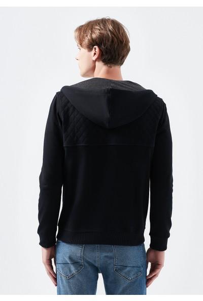 Mavi Erkek Fermuarlı Siyah Kapüşonlu Sweatshirt