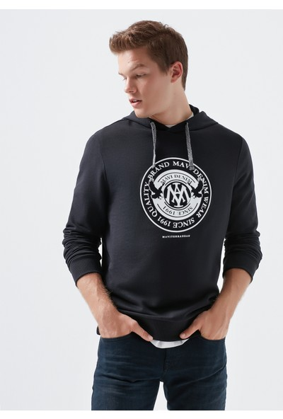 Mavi Mühür Logo Baskılı Kapüşonlu Siyah Sweatshirt 065169-900