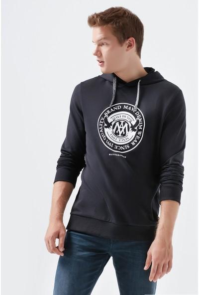 Mavi Erkek Mavi Mühür Logo Baskılı Kapüşonlu Siyah Sweatshirt 065169-900