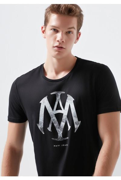 Mühür Logo Baskılı Siyah Tişört 065641-900