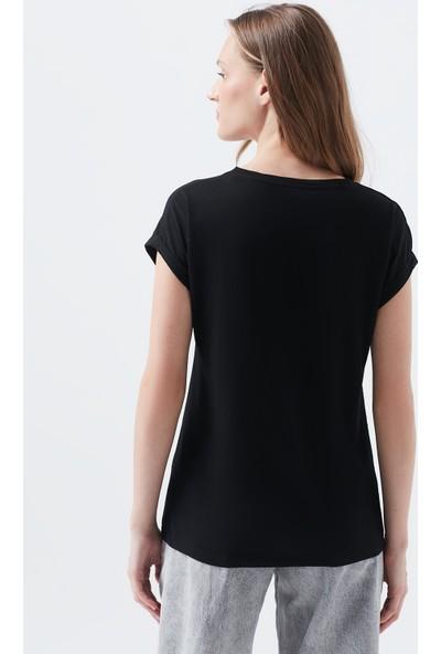 Mavi Logo Baskılı Siyah Tişört 166422-900