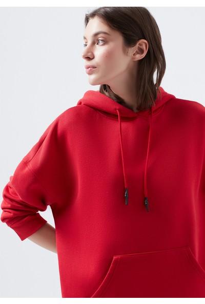 Mavi Kapüşonlu Kırmızı Sweatshirt 168327-30370