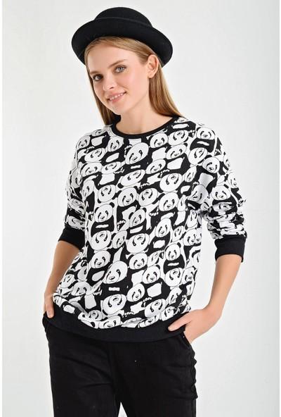Şimal Panda Figürlü Bisiklet Yaka Sweatshirt M
