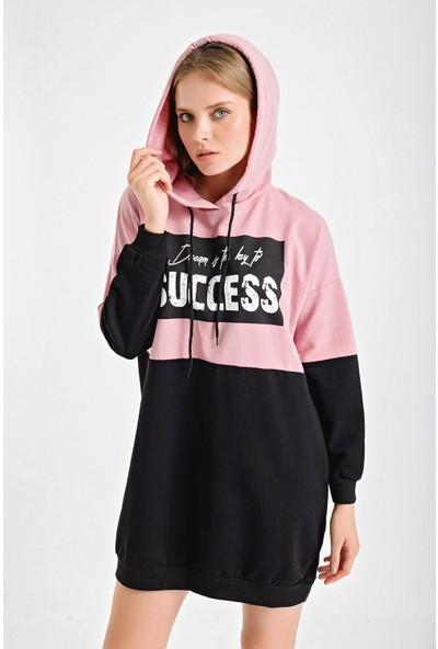 Şimal Succes Baskı Çift Renk Kapşonlu Sweat Elbise M