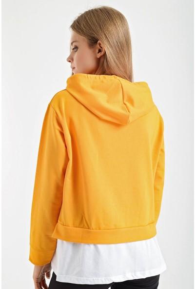 Şimal Good Things Yazılı Çift Görünümlü Kapşonlu Sweatshirt L