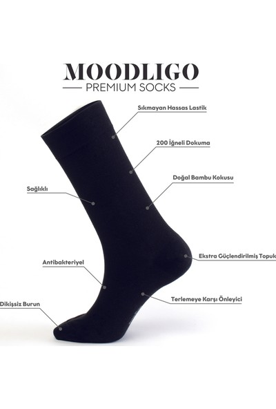MOODLIGO Premium 6'lı Siyah Bambu Çorap