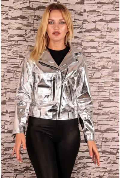 Redpoint Suni Deri (Faux Leather) Parlak Bisikletçi Montu Gümüş S