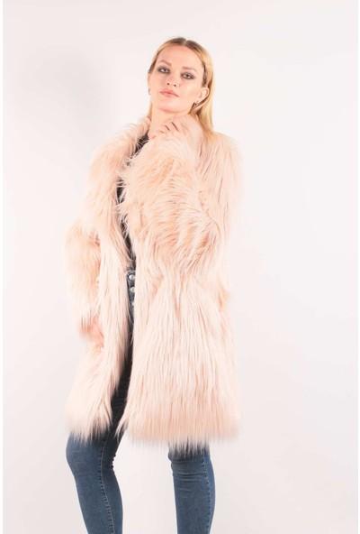 Redpoint Suni Kürk (Faux Fur) Uzun Tüylü Kaban Pembe M