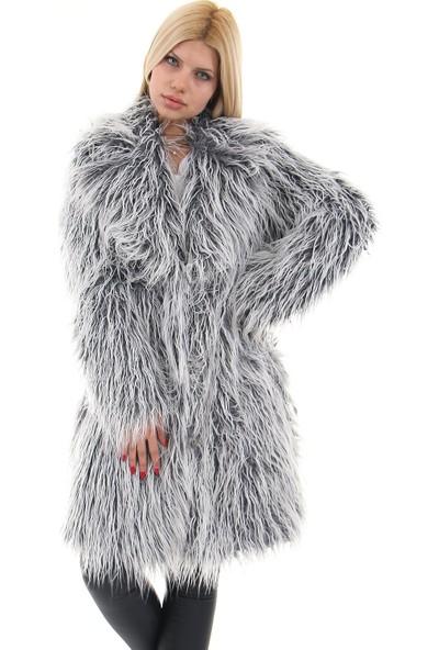 Redpoint Suni Kürk (Faux Fur) Çeltik Yaka Snap Düğmeli Uzun Tüylü Kaban Gri XL