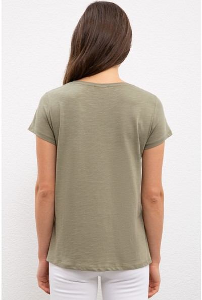 U.S. Polo Assn. Kadın Yeşil T-Shirt 50222314-VR027