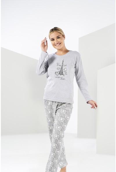 Estiva Kadın Kışlık Penye Pijama Takımı - Gri
