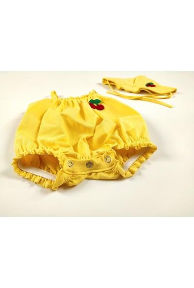 Deco Kız Bebek Yazlık Tulum Şapkalı, Kiraz Nakışlı.