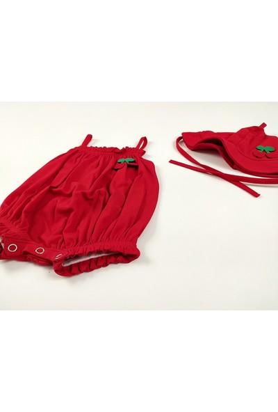 Deco Kız Bebek Yazlık Tulum Şapkalı, Kiraz Nakışlı