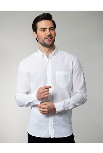 Tudors Klasik Fit Beyaz Keten Erkek Gömlek