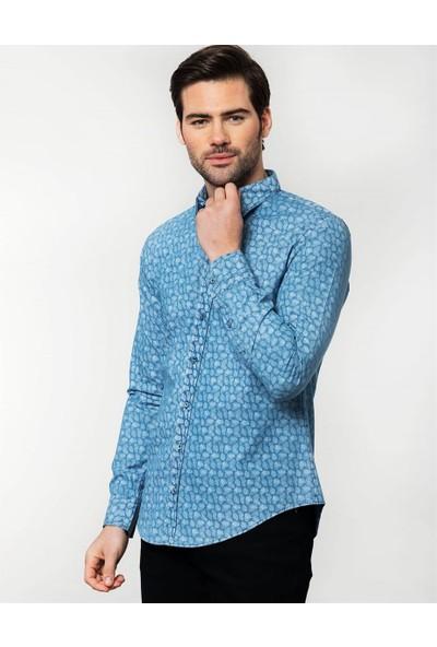 Tudors Slim Fit Desenli Kot Erkek Gömlek