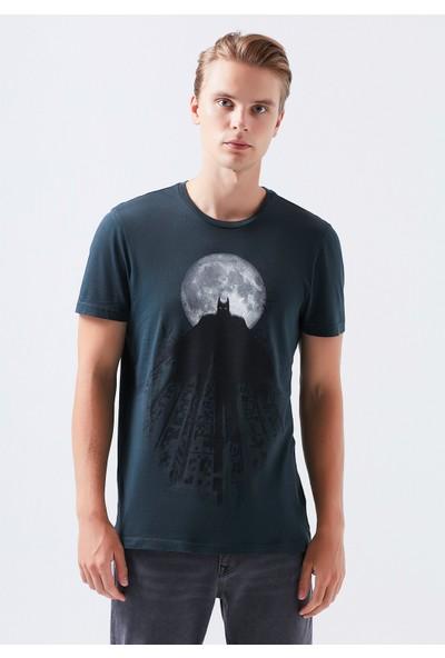 Mavi Batman Baskılı Gri Tişört 066557-32162