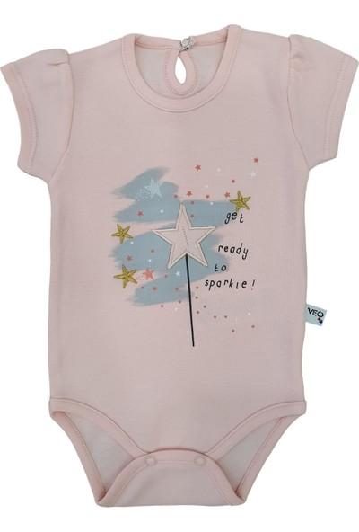 Veo Baby Yıldız Nakışlı & Yıldız Baskılı Kız Bebek Kısa Kol Body