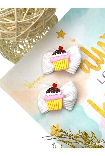 Lucky Lovely Kids Kız Çocuk Bebek Beyaz Fiyonklu Cupcake 2'li Klips Toka