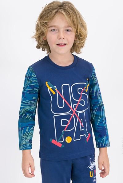 U.S. Polo Assn Lisanslı Koyu İndigo Erkek Çocuk Pijama Takımı