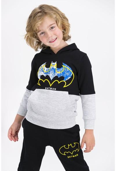 Batman Lisanslı Siyah Erkek Çocuk Kapüşonlu Eşofman Takımı